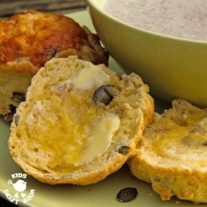 Creamy Mushroom Soup With Pumpkin And Sunflower Seed Cheesy Scones