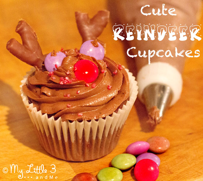Chocolate Reindeer Cupcakes, a fun Christmas recipe for kids from My little 3 and Me