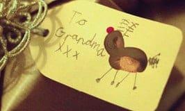 Cute FINGERPRINT GIFT TAGS - fun Christmas Art for kids