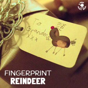 FINGERPRINT REINDEER - adorable handprint/fingerprint Christmas art for kid. These make great keepsakes. Use them to decorate gift tags, gift wrap or greeting cards.