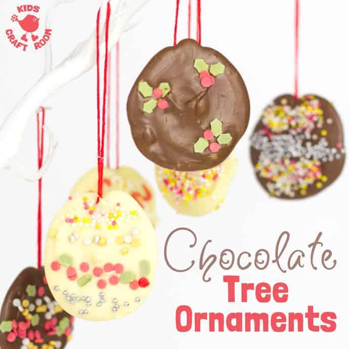 Homemade chocolate tree decorations are so easy to make. Kids will love having edible chocolate ornaments on the Christmas tree. It's a fun Christmas activity for the whole family.