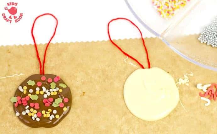 Homemade chocolate tree decorations step 5