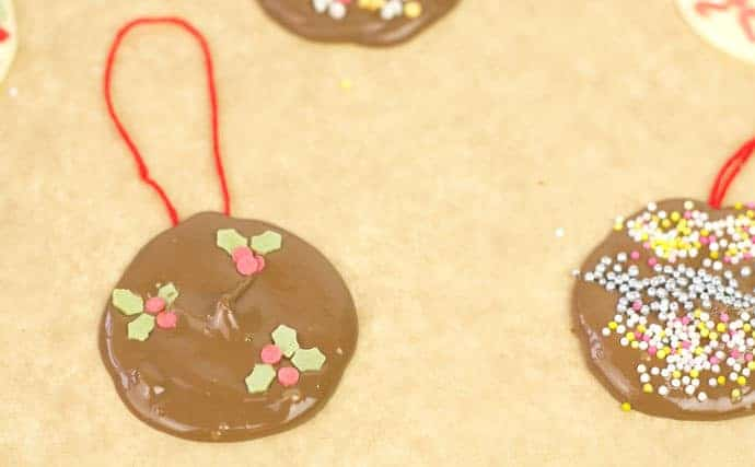 Homemade chocolate tree decorations step 6