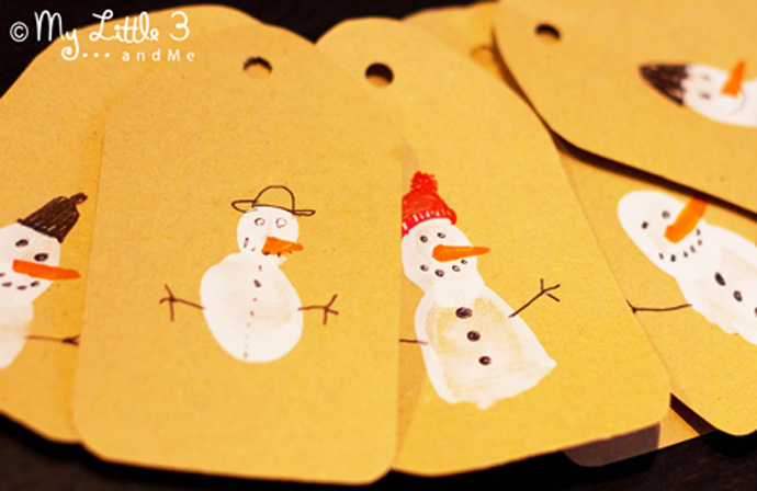 Cute FINGERPRINT GIFT TAGS - fun Christmas Art for kids