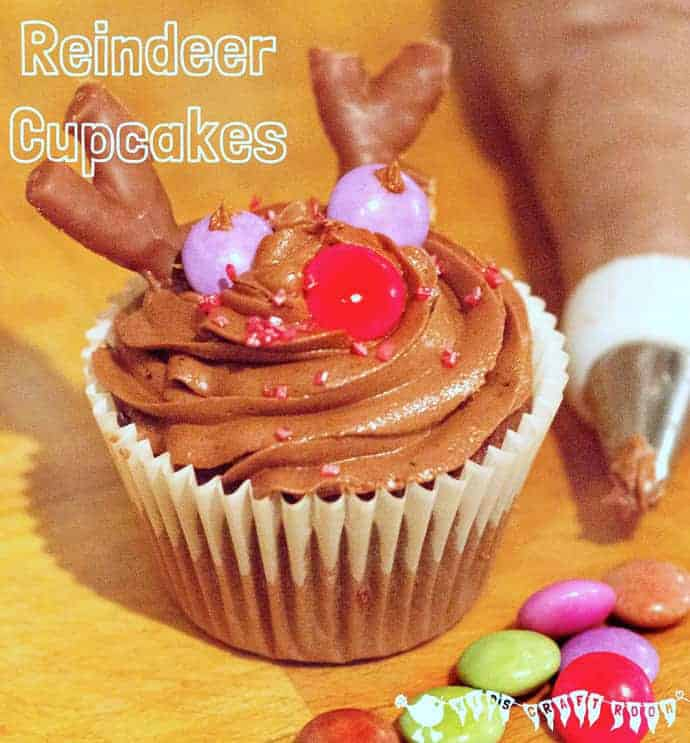 cute Rudolf The Red Nosed Reindeer Cupcakes for kids. A great easy Christmas recipe for kids to enjoy making, eating and sharing.