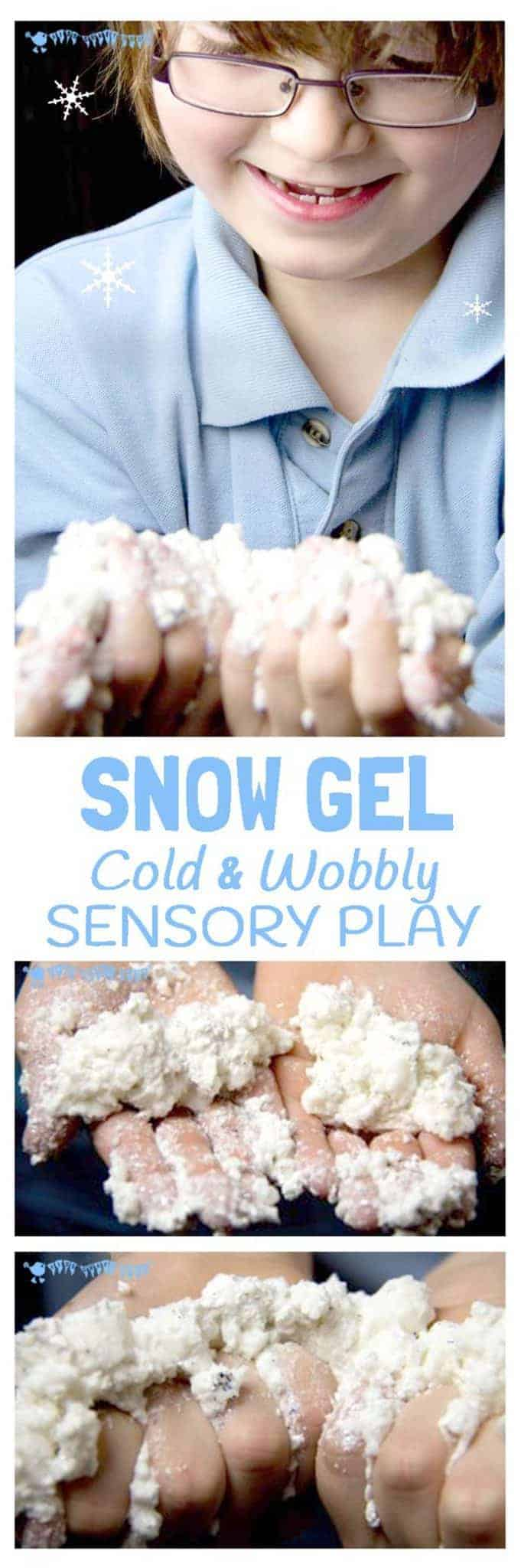 WINTER SENSORY PLAY SNOW GEL - Cold, wobbly, sparkly Snow Gel; a wonderfully rich Winter sensory play experience for kids. #sensory #sensoryplay #sensoryplayideas #sensoryplayactivities #sensoryseeker #winter #winterplay #winteractivities #kidsactivities #play #playideas #invitationtoplay #kidscraftroom #letsplay #snow
