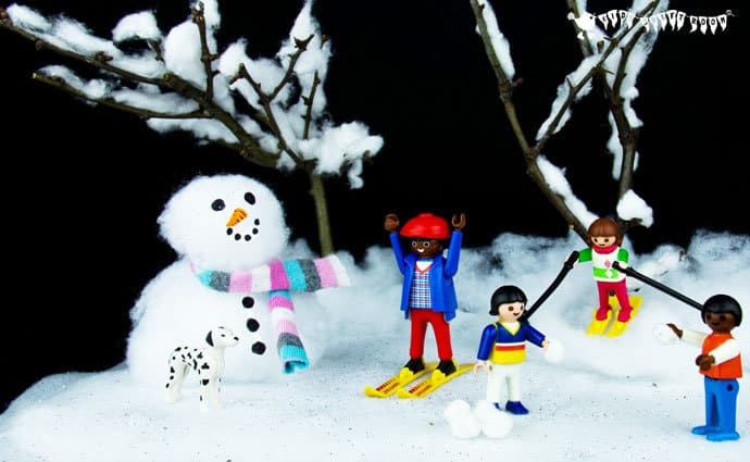 Snow Scene Small World Play Set, a fun Winter craft for kids.
