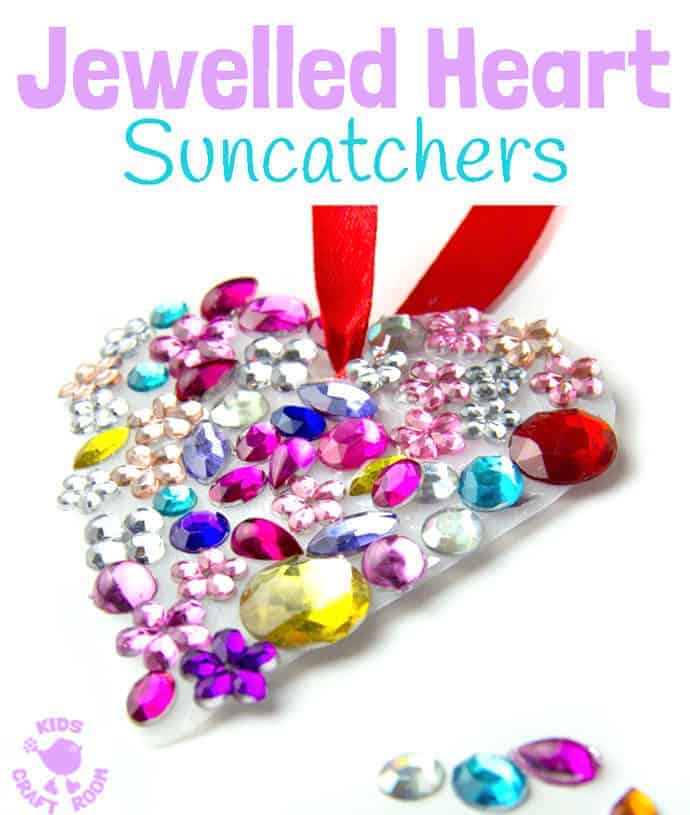 JEWELLED HEART SUNCATCHERS are so pretty! This is an easy recycled craft for kids and they make lovely gifts too. A great kids craft for Valentine's Day, Mother's Day and Summer.