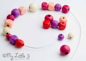 Homemade Mother's Day Gifts - Beaded and Pasta Hearts-Thread the beads onto the wire.