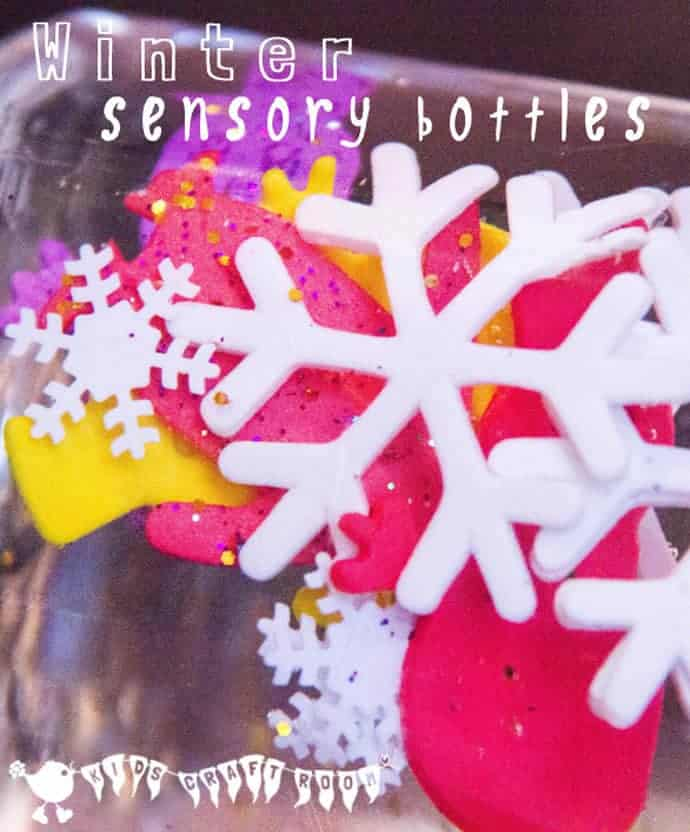 WINTER SENSORY BOTTLES - fun exploration for babies and toddlers.
