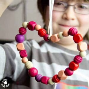 Gorgeous bead hearts and pasta hearts are simple enough for toddlers and pretty enough for tweens! A perfect heart craft gift for a loved Mummy or Grandma.