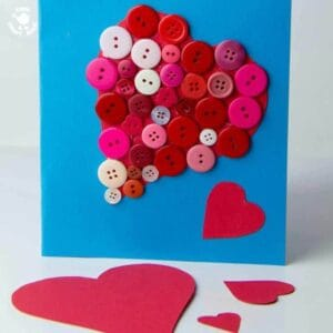 BUTTON HEARTS - an easy kids craft to make gorgeous pictures for the wall or cards for Valentine's Day or Mother's Day.