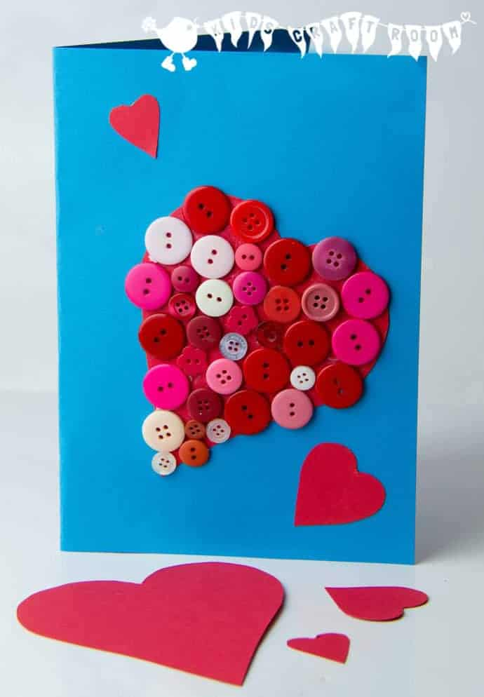 Button Valentine Card Kids Craft Room – Easy Valentine Cards for Kids