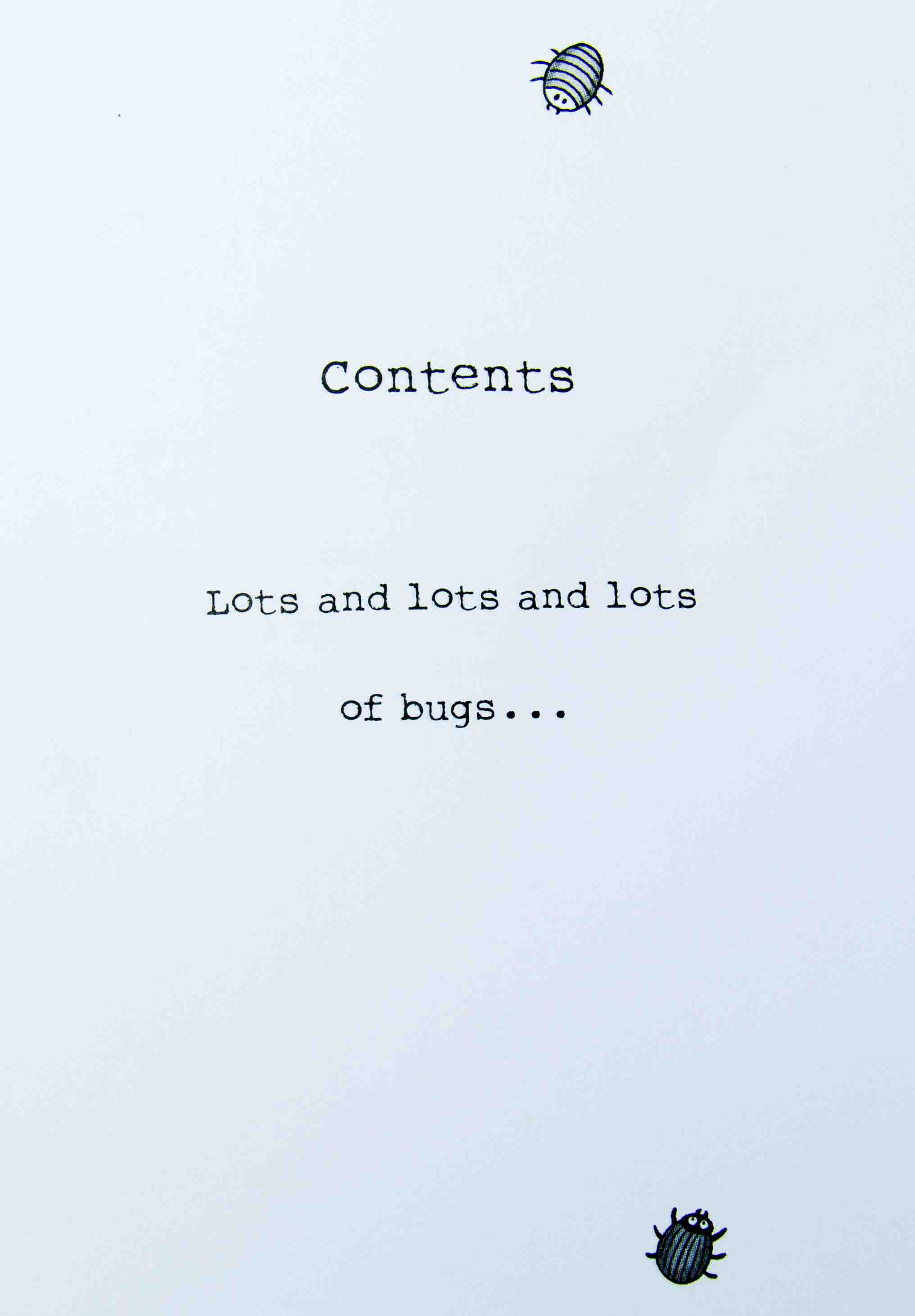 Contents Page From Stuart The Bug Eating Man
