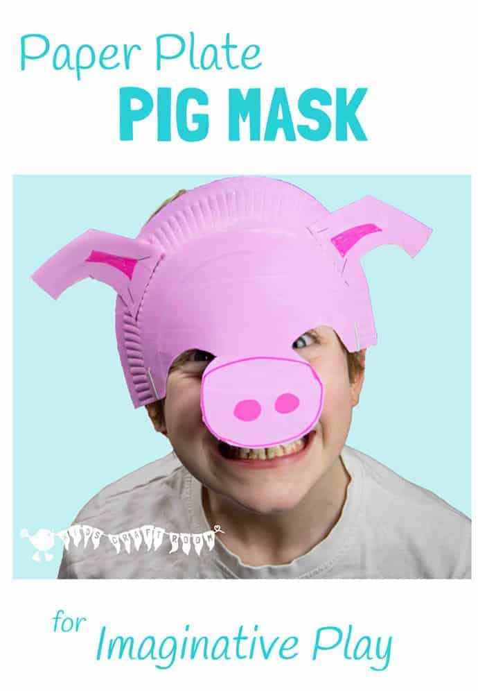 PAPER PLATE PIG MASK Fantastic for imaginative play. It sits on the forehead so it's great for kids that don't like full face masks and for glasses wearers too.