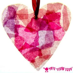STAINED GLASS HEARTS Can you believe these pretty hearts are made from old milk jugs? A fabulous kids craft for Valentine's Day or Mother's Day.