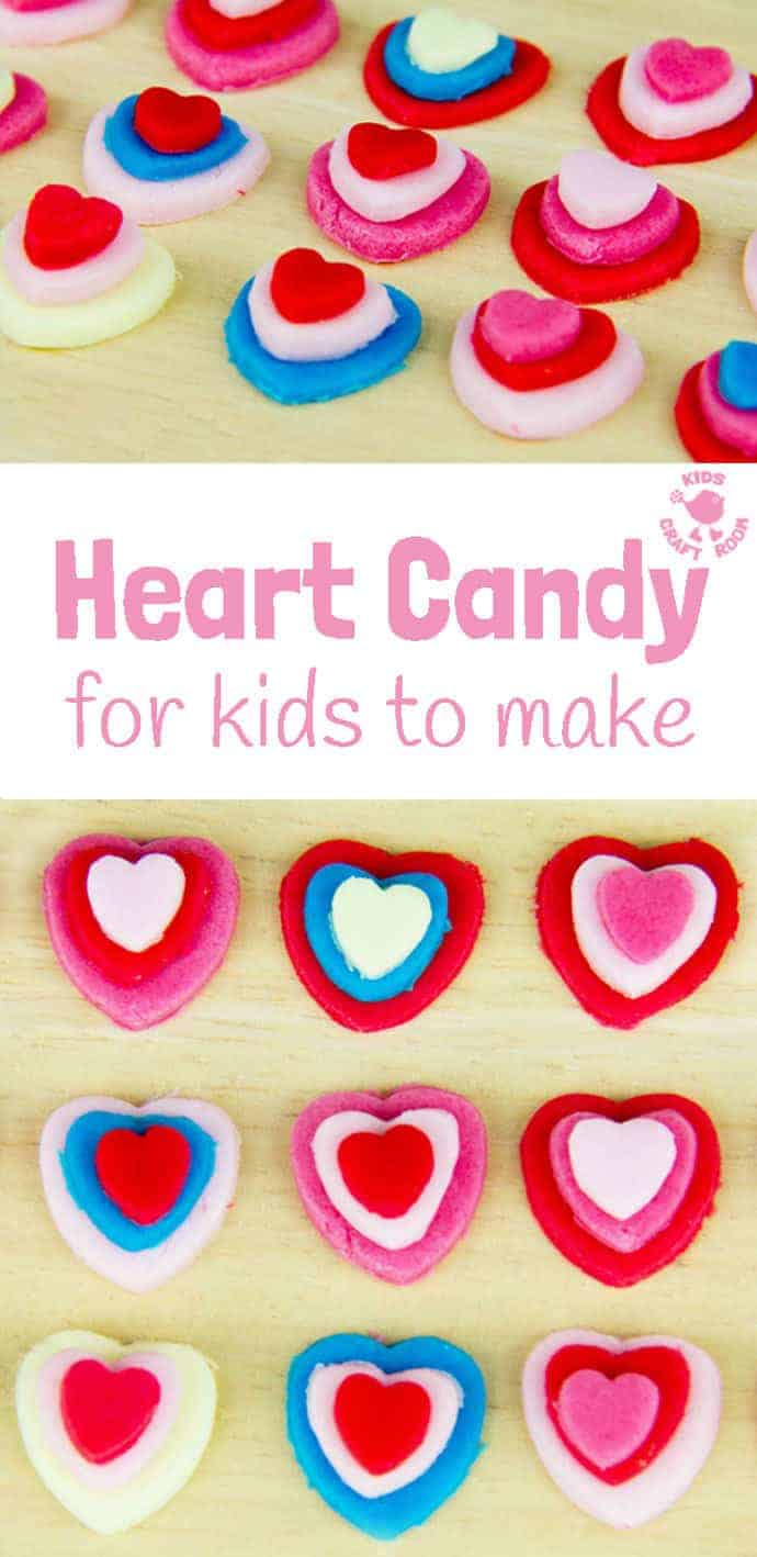 LOVE HEART CANDY is fun and easy for kids to make and is a cute and tasty gift. Use them as Valentine Sweets, for Mother's Day or for some extra love any day! #valentine #valentinesday #valentinesdaycraft #homemadecandy #heartcrafts #kidscrafts #valentinecraft #valentinescrafts #valentinecrafts #valentinesdayforkids #kidsactivities #craftsforkids #craftideasforkids #kidscraftroom #craftykids #craftingwithkids #kidsDIY #activitiesforkids #candy #sweets