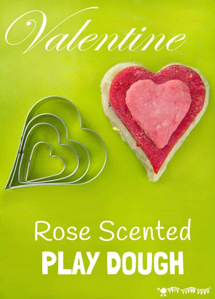 Rose Scented Sparkly Play Dough Recipe offers a fantastic sensory play activity for kids this Valentine's Day.