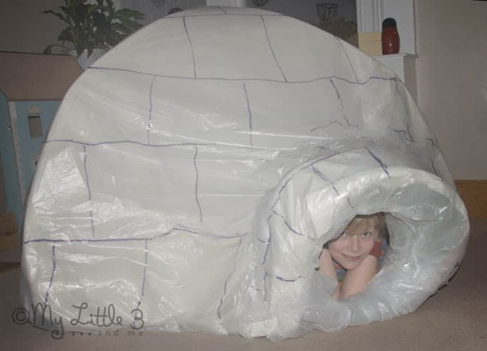 Make an indoor igloo, great for imaginative play.
