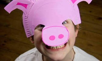 Adorable Pink Paper Plate Pig Mask, Perfect For Your Little Snuffle Monster.