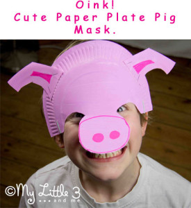 cute paper palte pig mask