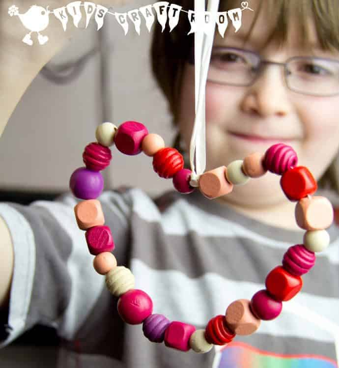 BEAD HEARTS a simple craft for kids. These make lovely gifts for Valentine's Day and Mother's Day too.