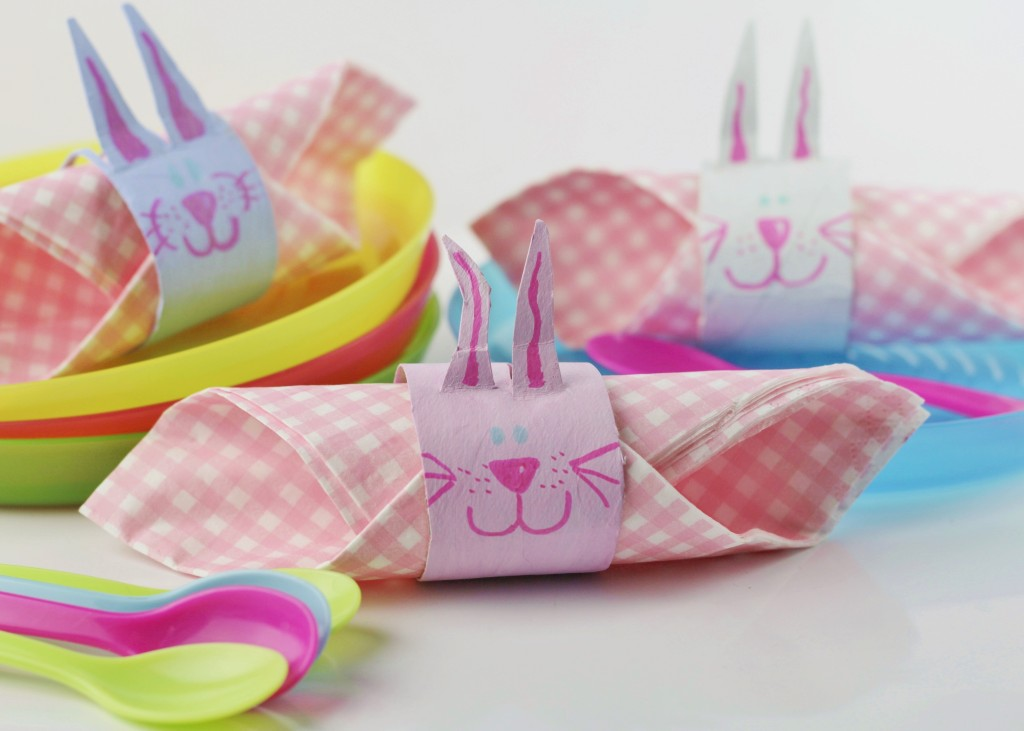 Make Bunny Napkin Rings - a fun Easter craft for kids.