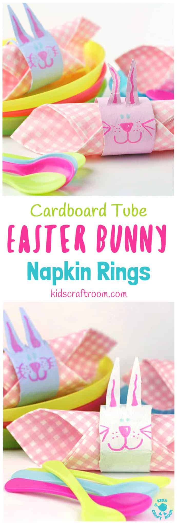 EASTER BUNNY RABBIT NAPKIN RINGS - a fun recycled Easter craft for kids. A cute rabbit craft from cardboard tubes / TP rolls. #easter #eastercrafts #kidscrafts #craftsforkids #kidscraftroom #bunny #bunnies #easterbunny #rabbits #tprollcrafts #cardboardtubecrafts #rabbitcrafts #bunnycrafts #napkin #napkinrings