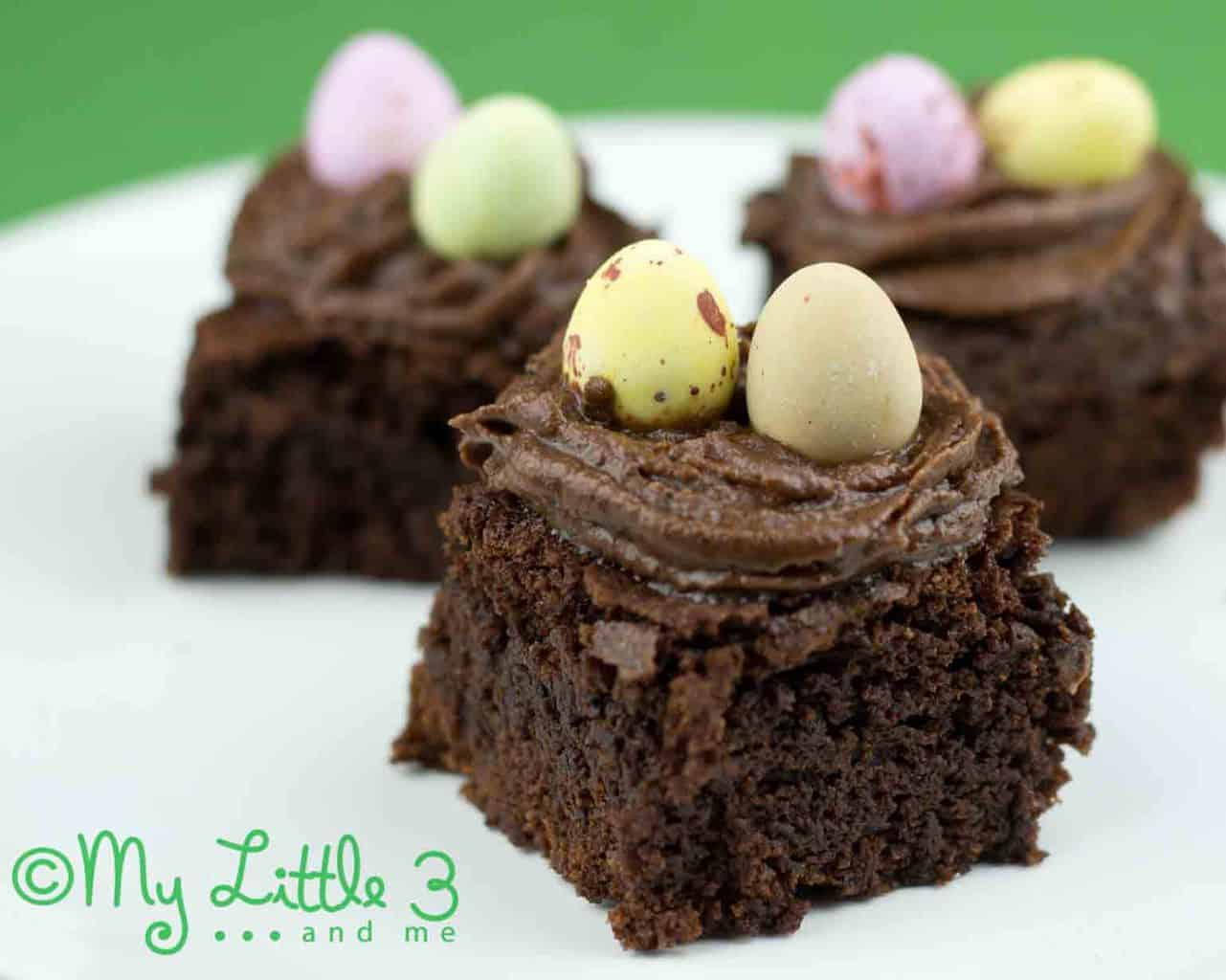 Delicious Chocolate Brownie Nests For Easter