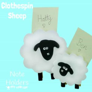 CLOTHESPIN SHEEP AND LAMBS - a lovely Spring craft for kids that double up as table place holders or memo holders.