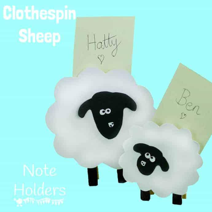 Clothes Pin Sheep a lovely Spring craft that double up as table place holders or memo holders.