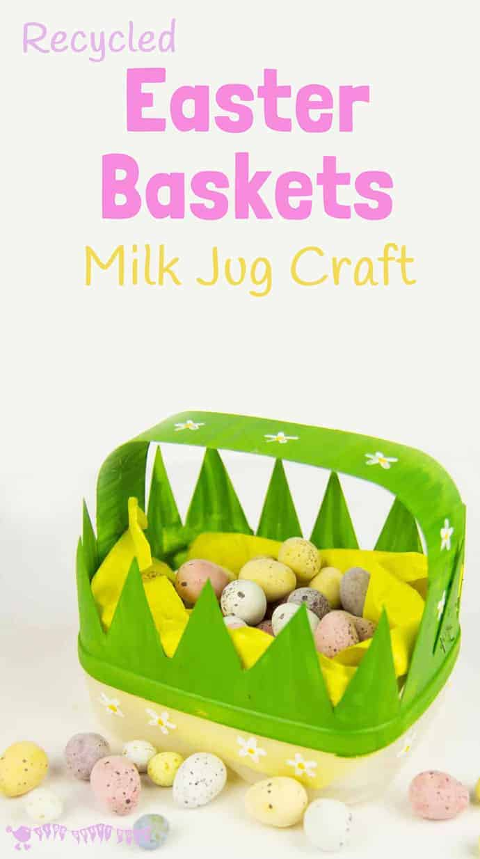 CUTE EASTER BASKETS a recycled milk jug craft. This recycled Easter craft for kids is lots of fun. Homemade Easter baskets to decorate for egg hunts or cute Easter gifts! #easter #easterbasket #easterbaskets #eastercrafts #easterideas #recycledcrafts #kidscrafts #craftsforkids #kidscraftroom #easteregghunts #eastereggs