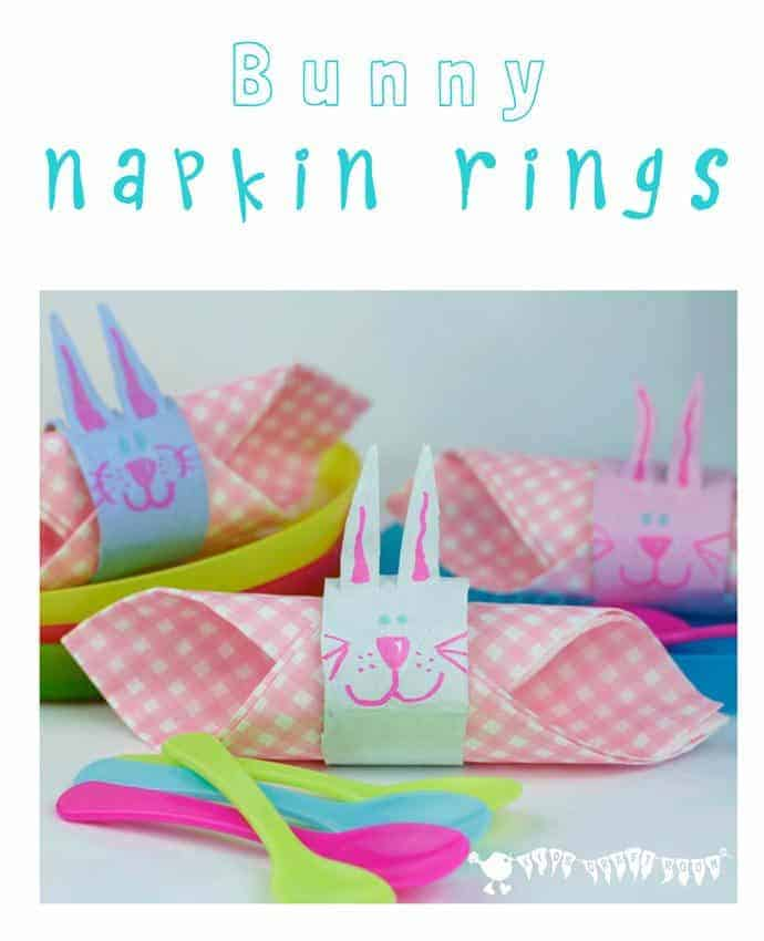 EASTER BUNNY NAPKIN RINGS - a fun and up-cycled Easter craft for kids.
