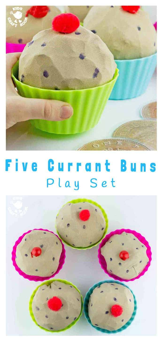 5 CURRANT BUNS SONG RESOURCES - These easy to make fun play buns are great for bringing the nursery rhyme to life, early math skills and imaginative / dramatic play.