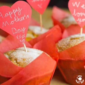 Mother's Day Doughnut Muffins - filled with jam and topped with sugar.