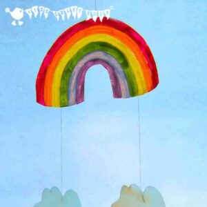 Make a colourful RAINBOW MOBILE - a fun recycled craft for kids.