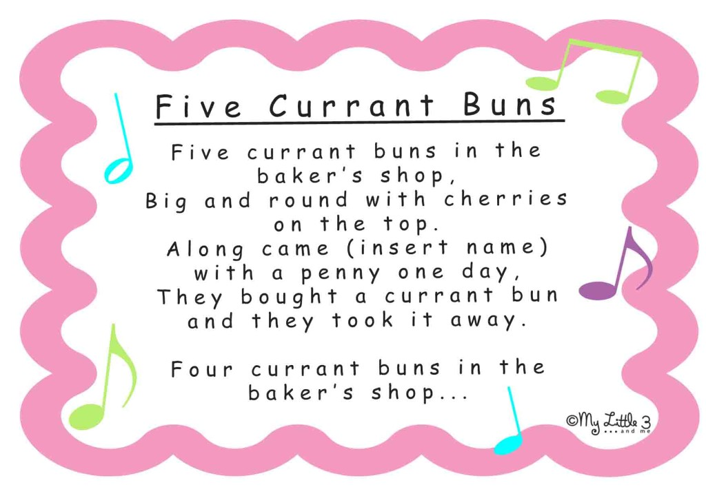 Five Currant Buns Song Resources- lyrics