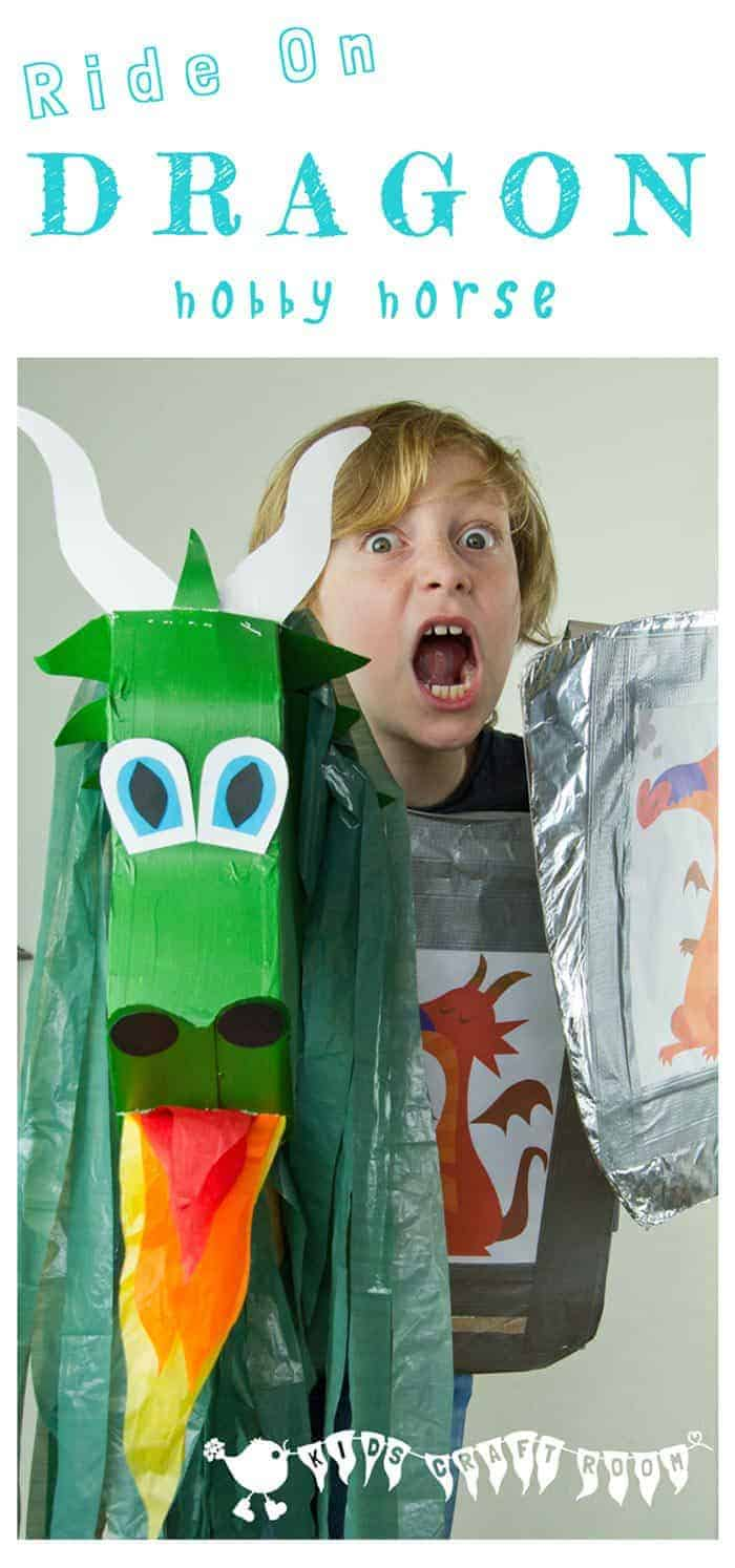 DRAGON HOBBY HORSE Imagine how excited kids will be to ride on the back of their own dragon! This dragon is easily made from an up-cycled cereal box for hours of imaginative play.