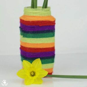 Make a wool wrapped vase. A colourful craft for kids.