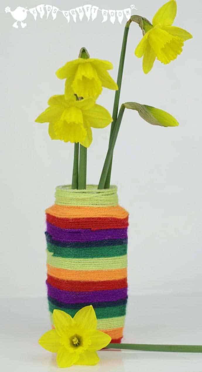 Yarn covered vase or desk tidy kids craft room make a wool wrapped vase a colourful craft for kids reviewsmspy