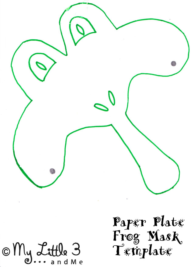 Frog mask printable template a paper plate green red and white paint