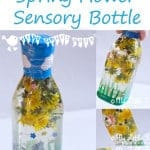 Make a magical Spring flower sensory bottle for your baby/toddler, a great educational activity to explore the natural world and bring the outside in.