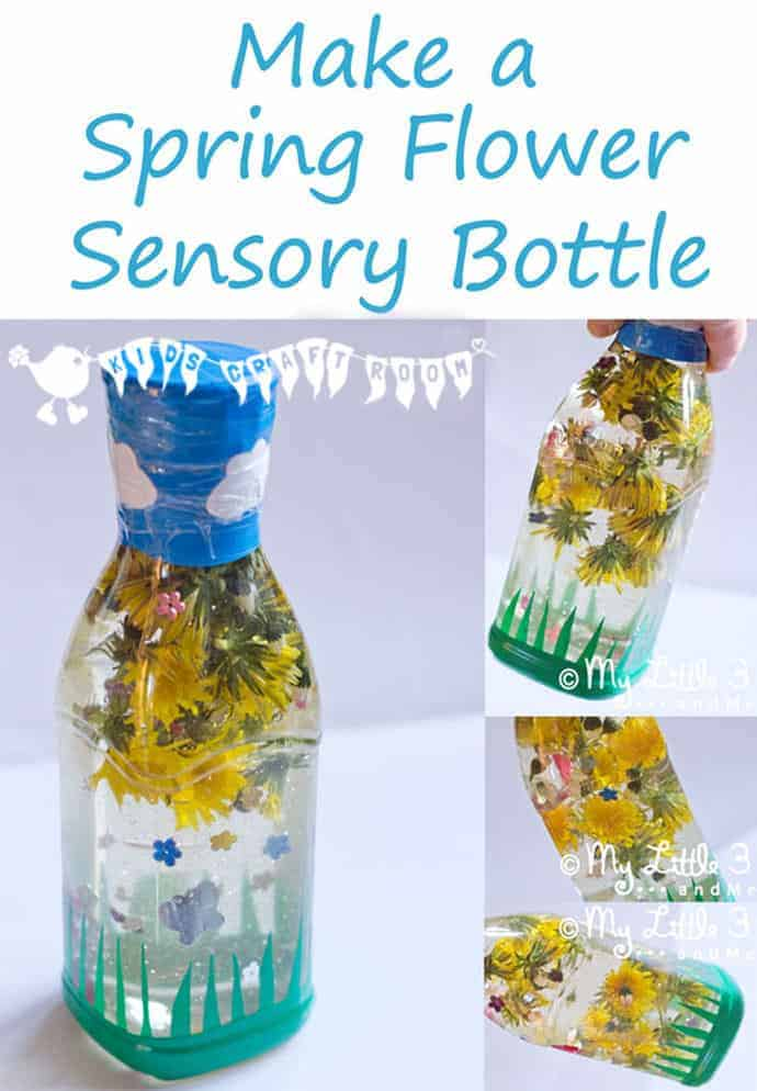 Spring Flower Sensory Bottle Kids Craft Room