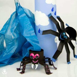 Itsy Bitsy Spider Play Set - easy to make and great for bringing the nursery rhyme to life. A fun spider craft for kids.