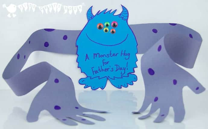 "A super cute Father's Day card for the children to make for Daddy.  A ""Monster Hug"" from Daddy's little monster!"