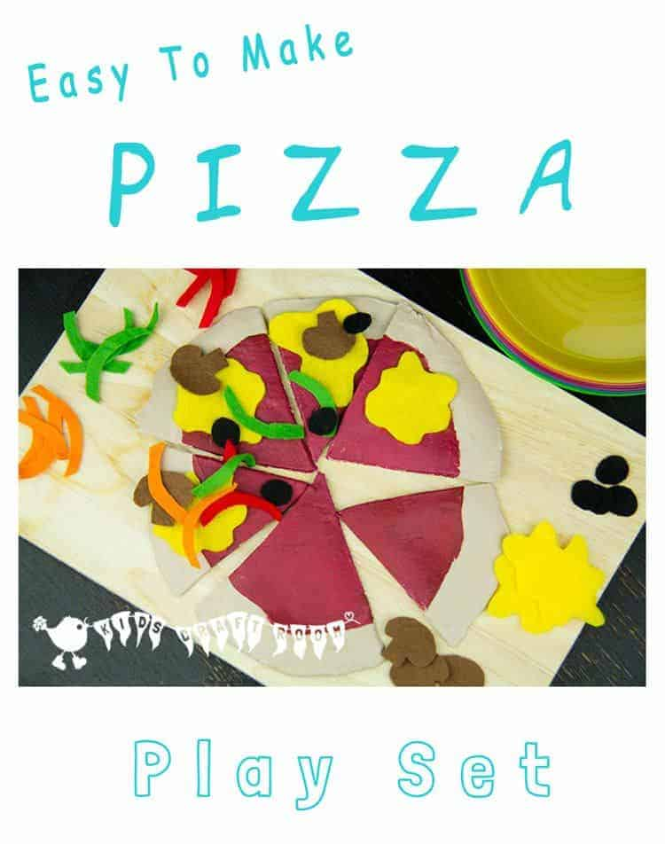 HOMEMADE PIZZA PLAY SET Your kids will enjoy hours of imaginative play and learning with this easy to make and very realistic pizza play food set.