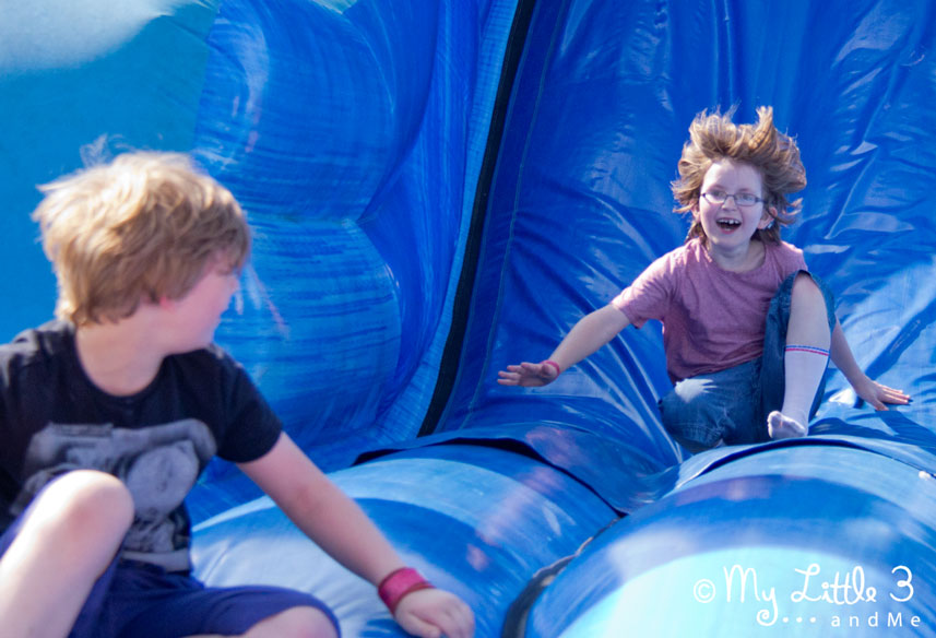 We've had such a great time at Butlins. The children enjoyed the bouncy slide. From my Little 3 and Me.