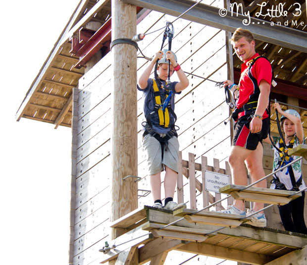 We've had such a great time at Butlins. Here's Biscuit venturing out on the high ropes.