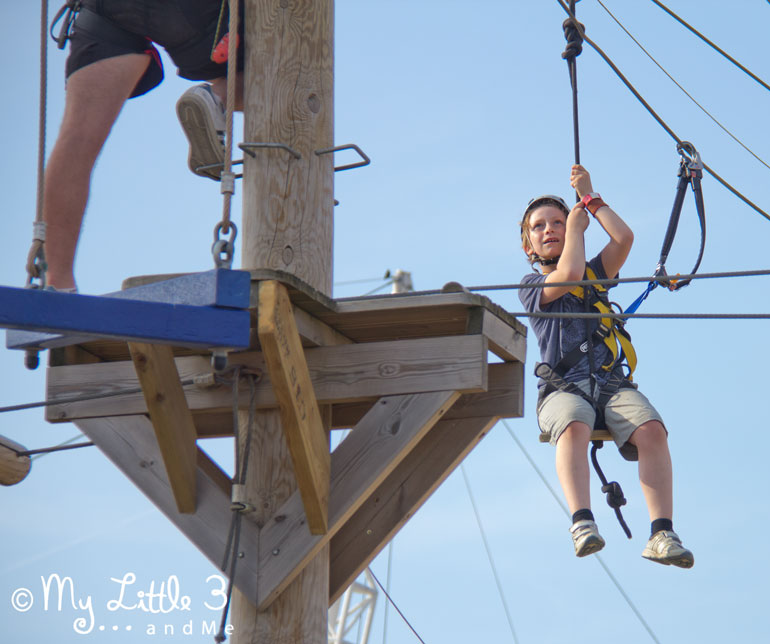 We've had such a great time at Butlins. Here's Biscuit swinging across the Highropes course. From my Little 3 and Me