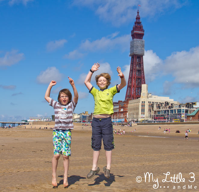 Jumping-On-The-Beach-At-Blackpool-A review of our Blackpool holiday from My Little 3 and Me